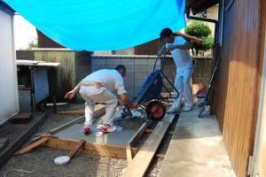浄化槽廻りのコンクリート打設