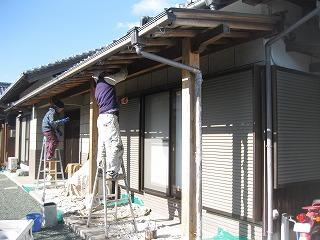 和風玄関下屋根の木部塗装