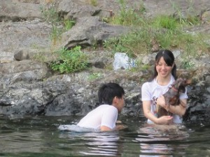 家族で泳ぎました!