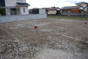 新築注文住宅の造成・敷地配置の地縄張り
