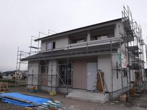 新築住宅の外壁サイディング張りの施工が完了