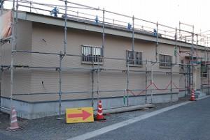 新築事務所の外壁サイディング張り工事
