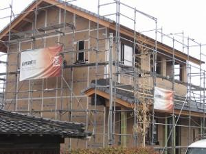 外壁の強化面材の施工