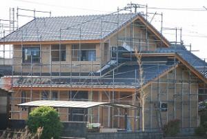 住宅の耐震補強面材の施工
