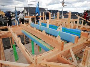 新築住宅木造平屋建ての建前・上棟