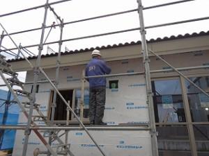 外壁下地の通気シート張り検査