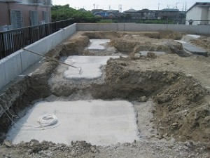 店舗新築工事の地中梁基礎