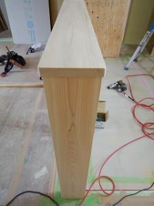 檜無垢材のカウンター笠木