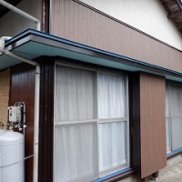 庇の修理・外壁張替え