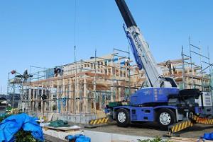 平屋建て新築住宅の 上棟日