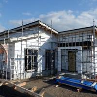 平屋建て新築住宅・外壁下地・防水検査