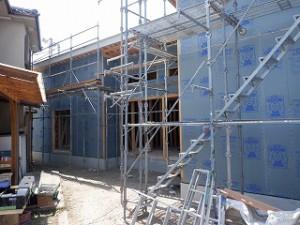 新築工事外壁面